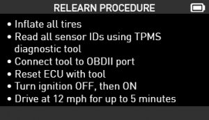 Relearn Procedure Screenshot VT56 OBD RELEARN