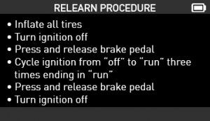 Relearn Procedure Screenshot VT56 STATIONARY RELEARN